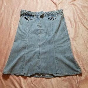 Anthropologie Louie Light Denim Skirt